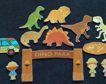 Dinosaur Felt Set // Flannel Board // Park // Fossils // Imagination // Children //  Bones