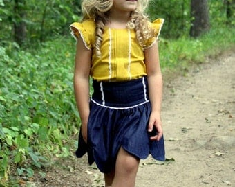 Mattie's Scallop hem suspender Skirt . PDF sewing pattern for toddler girl sizes 2t - 12.
