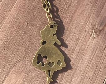Alice in wonderland handmade necklace. Fairytale custom jewellery. Charm necklace fairytale character.