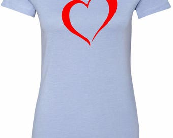 Ladies Heart Outline Longer Length Tee T-Shirt HEARTOUT-6004
