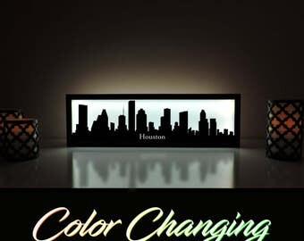Houston Skyline, Houston Lightbox, Houston Skyline Light Up Picture, Houston Skyline Picture, Nightlight, LED Lamp, Home Decor
