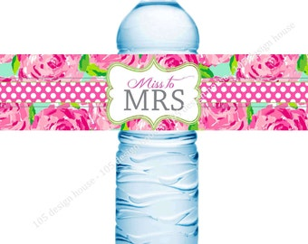 Lilly Pulitzer Bridal Shower Water Bottle Label Printable INSTANT DOWNLOAD - Lilly Pulitzer - Bridal Shower Water Bottle Label