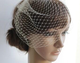 Ivory White Peach Beige Black Mini Birdcage Veil, Bridal White birdcage veil, Small Bird Cage Veil 9 inch veil, Wedding Fascinator