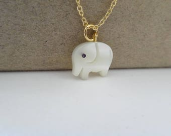 Elephant necklace, Gold elephant charm necklace, Pearl Elephant Necklace, Carved Mother of Pearl Necklace, lucky baby elephant jewelry