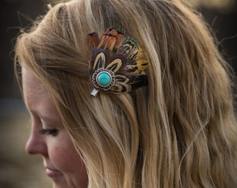 Pheasant Feather Hair Clip with Round, Turquoise Piece