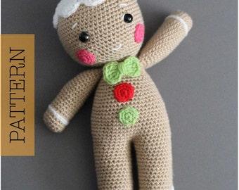 Crochet Amigurumi Gingerbread Man PATTERN ONLY, Christmas Gingerbread Man, Baker pdf Stuffed Toy Pattern