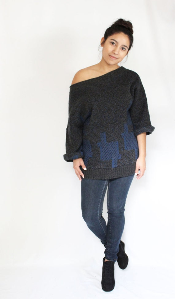 Oversized Refashioned Sweater, Reversible Womens V Neck, Grey and Blue Sweater Tunic with Cuffed Sleeves, Eco Conscious Knit Top, Loose Fit