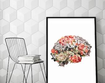 "Human brain art, surreal wall art, flowers art print, rose print art, surreal collage art, human brain anatomy art, rose art ""Flower brain""."