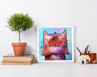 Square cat art print - cute cat painting for nursery, whimsical cat painting, colorful kitty art, whimsical cat art, cute cat illustration