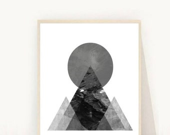 Geometric Art Print, Printable Art, Abstract Art Print, Triangle Print, Grey Triangle Print, Minimalist Wall Art,  Mountain Print