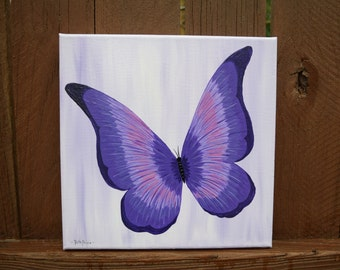 Purple Butterfly handpainted on a 10x10 Canvas
