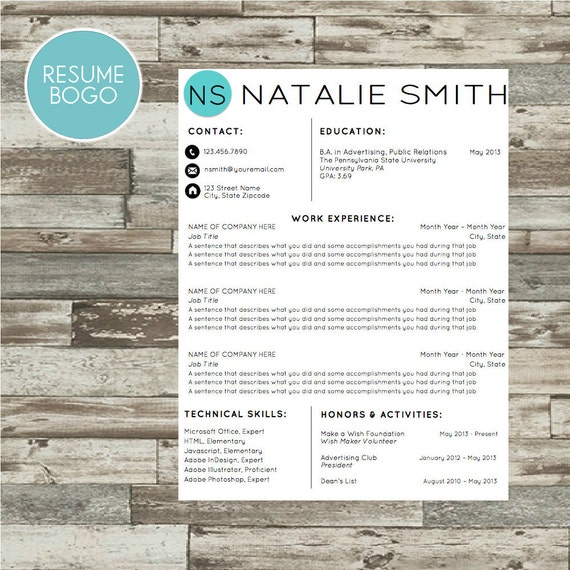 professional modern resume template instant download cv template