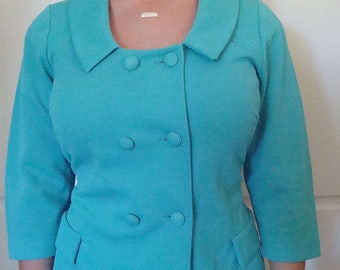 "1960's Turquoise Crimplene 3/4 sleeve double breasted ""Mad Men"" jacket"