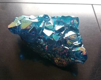 Blue Titanium Druzy Quartz Crystal Cluster 170G