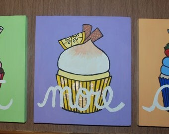 Eat More Cake Three part Plaques with Cupcakes