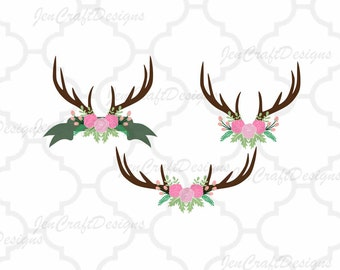 Antler floral swag svg Cutting File Set in Svg, eps, dxf and PNG Format for Cricut and Silhouette, Hunting Fishing, Print, clipart
