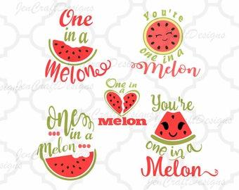 One in a Melon SVG, Watermelon svg Cuttable Design Bundle SVG, Dxf, Eps, Png Cut File Clipart Cricut Explorer, Silhouette Art, Heat Transfer