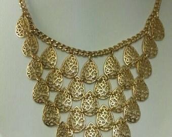 Vintage Gold Tear Drop Lace/Rope Petal BIB Necklace