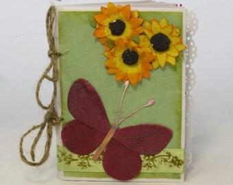 Butterfly mini album, Grandma's brag book, wallet mini album, rustic mini album, Mulberry photo album, spring brag book, wallet sized album