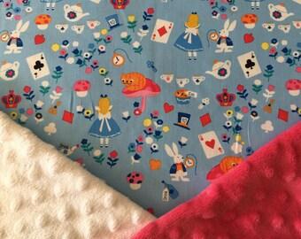 Personalized Disney Lewis Carrol Alice in Wonderland Minky Baby Blanket, Cheshire, White Rabbit Minky Baby Blanket