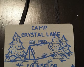 Camp Crystal Lake Counselor | Friday the 13th | Hand-painted Wooden Plaque | Halloween Tree Ornament | Horror Christmas Ornament