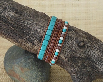 CLEARANCE: Turquoise Leather Wrap Bracelet/3 Wrap Bracelet/Beaded Leather Wrap/Layering Bracelet/December Birthstone/3rd Anniversary for Her