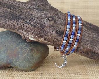 Blue Moon Wrap Bracelet/3 Wrap Bracelet/Lapis Wrap Bracelet/Layering Bracelet/Moon Charm Bracelet/Gift for Her/3rd Anniversary/Boho Chic