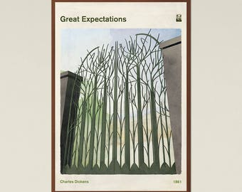 Great Expectations, Charles Dickens, Book Cover Poster Large, Literary Gift, Classic Literature Print, Modern Home Decor, Instant Download