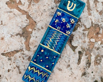 Blue and Green Modern Mezuzah Case, Handpainted Mezuzah made in Israel, One of a kind Mezuzah case