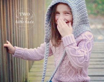 Crochet Pattern, Crochet Pixie Bonnet, Crochet Hood Pattern, pixie hat, Pixie Hood, Pom Pom, Sizes Toddler, Child, and Adult, ZOE PIXIE HOOD