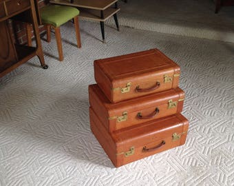 Vintage Leather Luggage SET of 3 California Saddle leather - antique suitcase OUTSTANDING INTERiOR