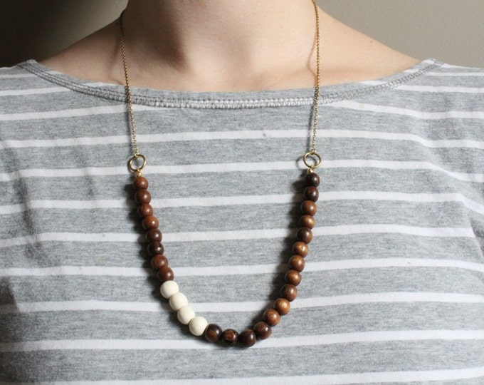Robles Wood Beaded Necklace // White Accent