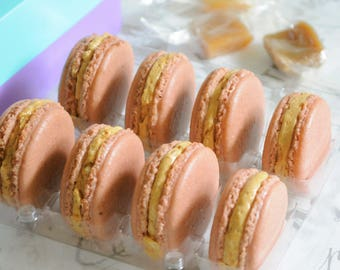 Salted Caramel Macaron. 8 French macarons with sea salt caramel, made to order, delicate  gluten free cookie, Thank you gift
