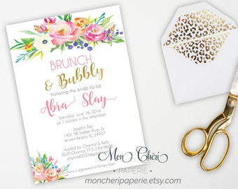 Floral Bridal Shower Brunch Invitation, Bridal Shower Invitation, Printable Bridal Shower