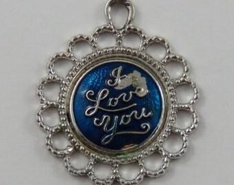 I Love You With Blue Enamel Background Sterling Silver Vintage Charm For Bracelet