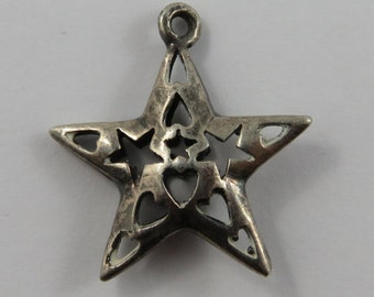 Star With Cutout Hearts & Stars Sterling Silver Vintage Charm For Bracelet