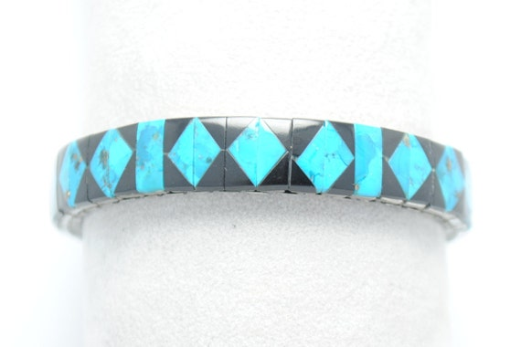 Native american bracelet - turquoise bracelet - geometric bracelet - vintage bracelet - extensible bracelet