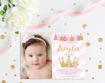 Princess First Birthday Invitation, Princess Invitation, Princess Party, Pink and Gold Invitation, Floral Princess Invitation, Photo Invite