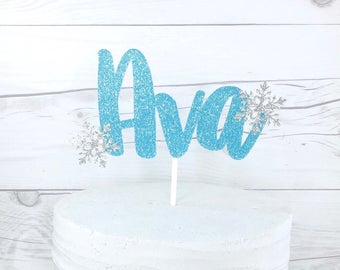 Snowflake Name Cake Topper, Blue Glitter Name Topper, Silver Glitter Cake Topper, Winter Onederland Cake Topper,