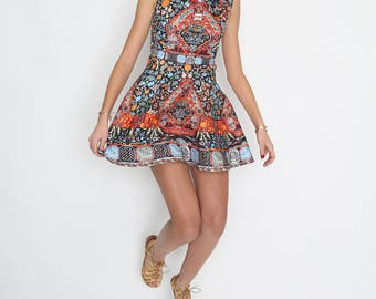 High Neck Orange and Red Skater Dress with details: Beads and Embroidery Handmade Flowers In Multi Print
