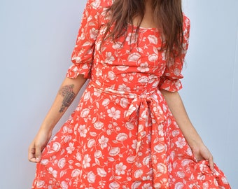 Vintage seventies orange floral dress