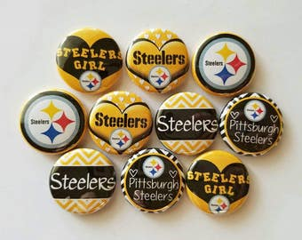 """Pittsburgh Steelers  #1 bottlecap image 1"""" buttons, flatback, pin, or magnet. Set of 10"""