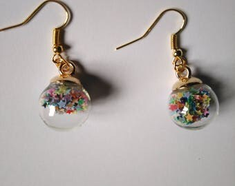 Gold dangle earrings Globes in transparent glass with star glitter multicolored gift wife gift daughter