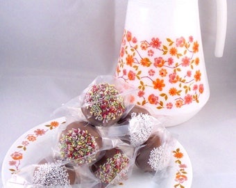 Homemade Chocolate Dipped Marzipan Pops - Lolly Pops - Gift - Sweets - Candy - Chocolate - Favors