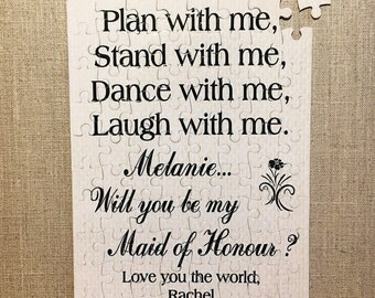 Personalised Jigsaw Will you be my Bridesmaid Maid of Honour Gift Puzzle W294