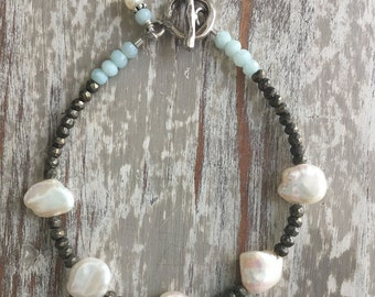 Freshwater pearl & pyrite bracelet