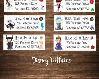 Villain Address Labels, Disney, Mailing Labels