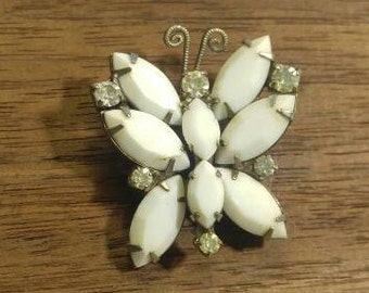 Vintage Milk Glass Butterfly Brooch