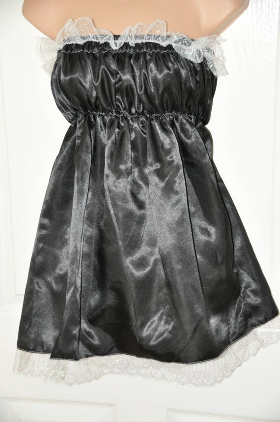 Black pretty little sissy dress with matching satin bloomers / panties, Sissy Lingerie