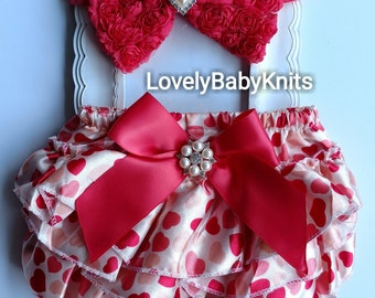 Baby girl satin ruffle Bloomer and Rose Headband baby girl - valentines photo prop  - 0-6 months - infant --girl clothes - baby girl clothes